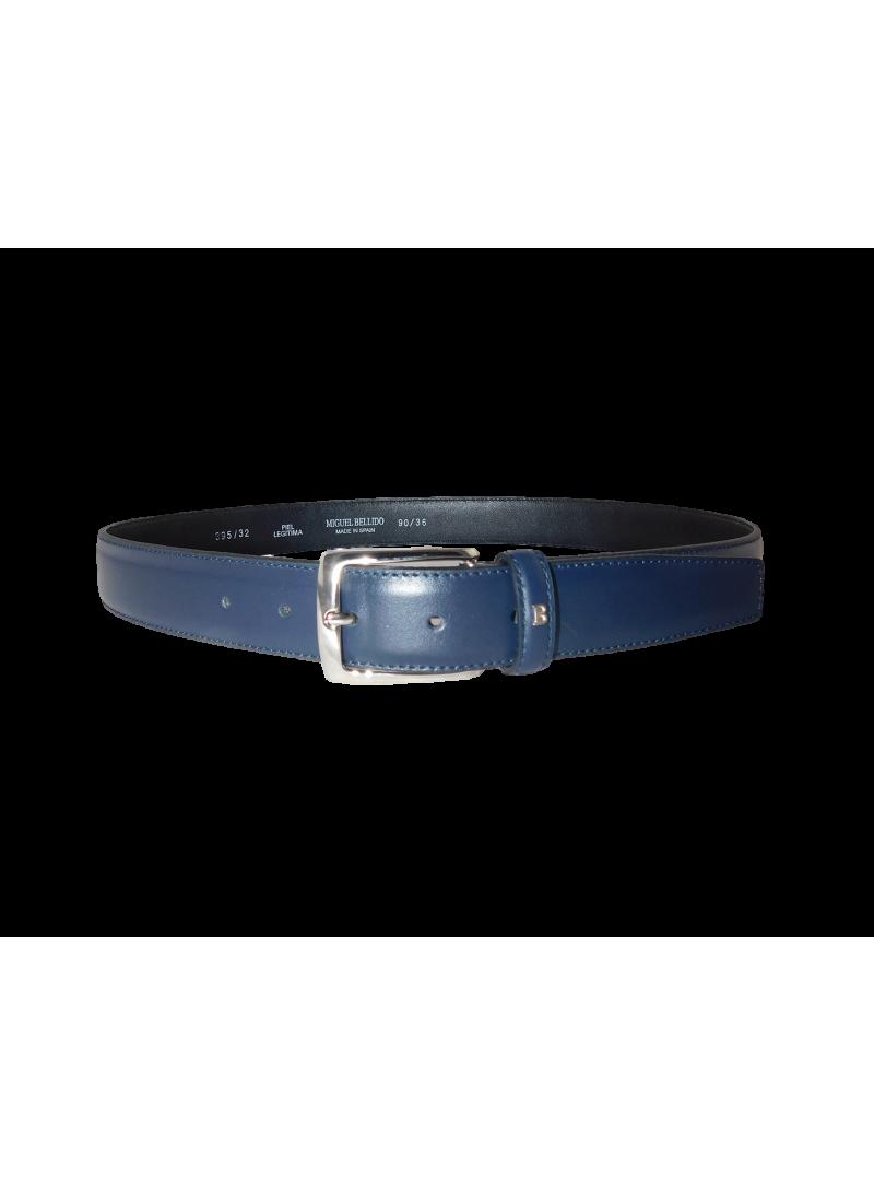 Cinturon hombre piel azul marino para trajes vestir y sport