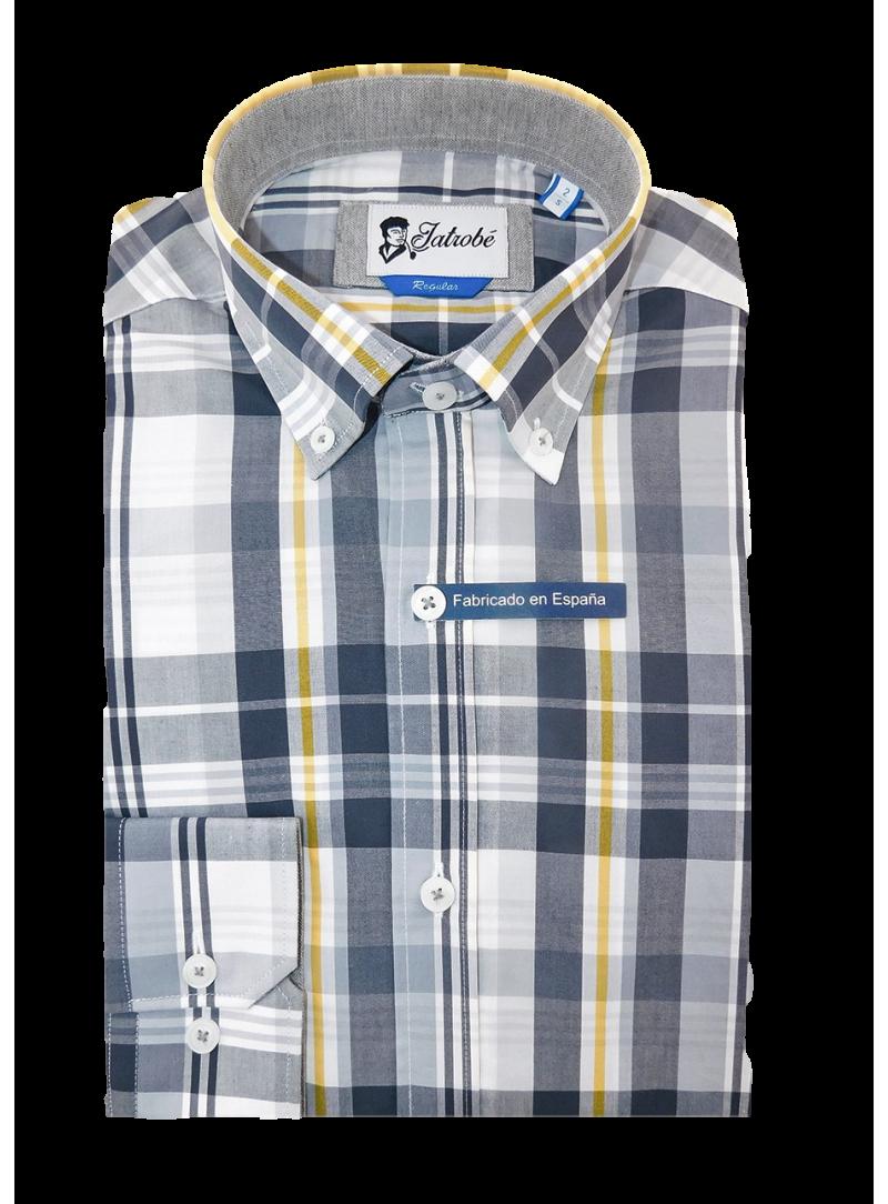 Camisa hombre algodon slim fit manga larga estampado cuadros gris y amarillo