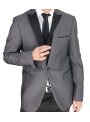 Traje smoking hombre boda ceremonia gris solapa raso slim fit