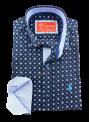 Camisa hombre manga larga slim fit logo caballo polo azul estampado flores