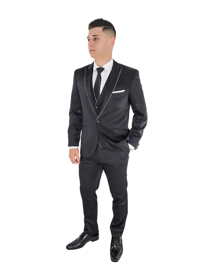 Traje hombre slim fit ceremonia con chaleco color negro raso cordon plata