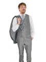 Traje chaque hombre boda ceremonia con chaleco gris