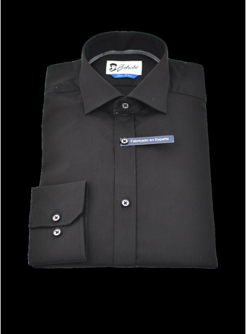 camisa vestir hombre manga larga slim fit negro