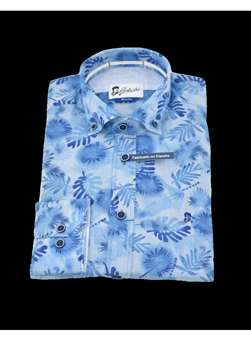 camisa sport manga larga hombre estampado azul