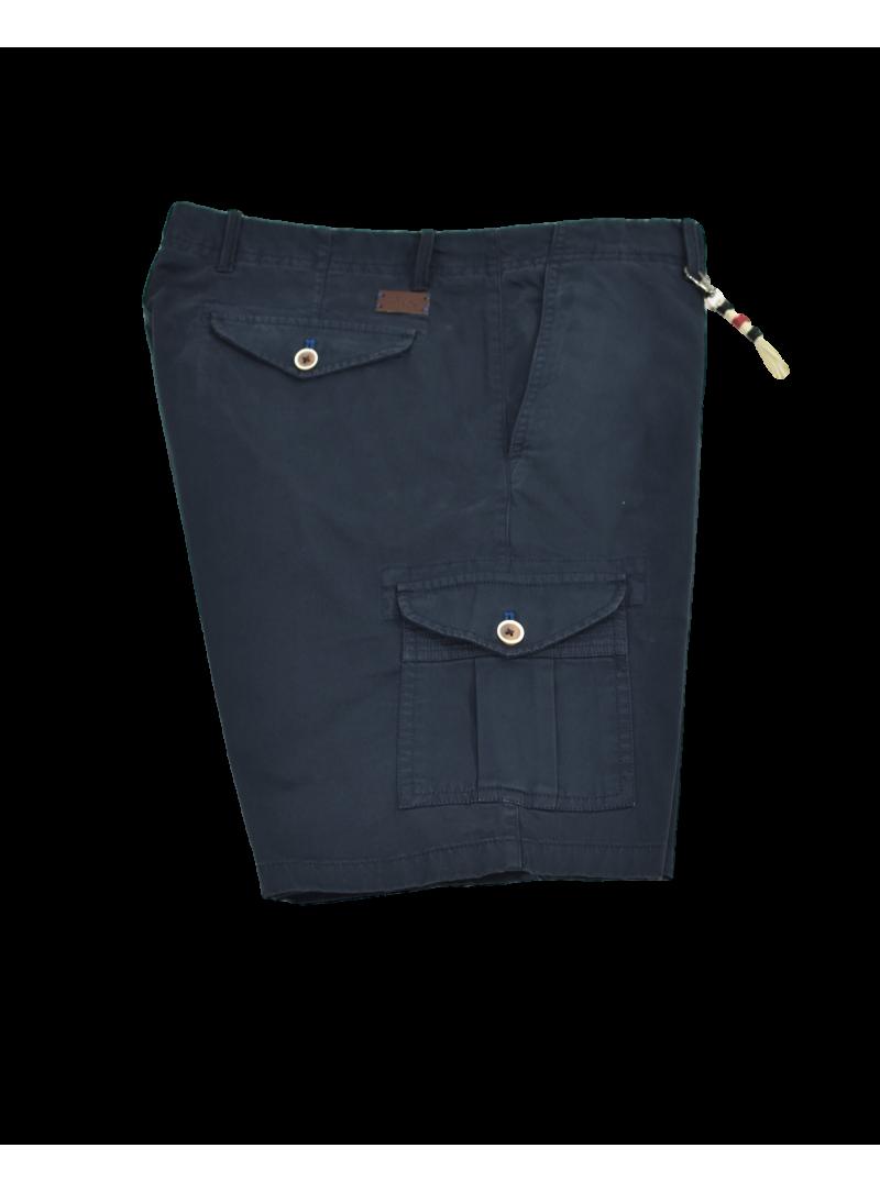 pantalon corto bermuda hombre primavera verano algodon multibolsillos azul marino