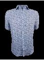 camisa hombre manga corta lino estampado flores azules