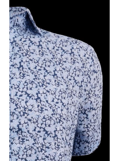 Camisa estampada 100% lino...