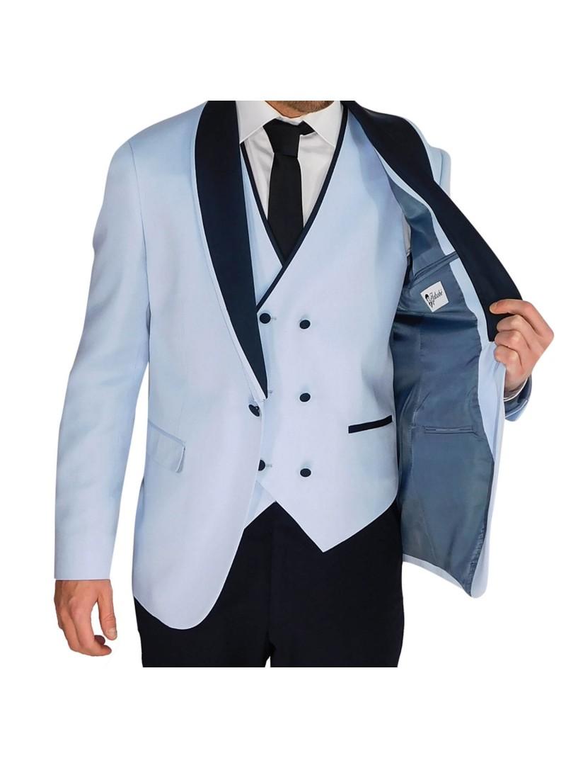 Traje hombre ceremonia con chaleco azul celeste smoking