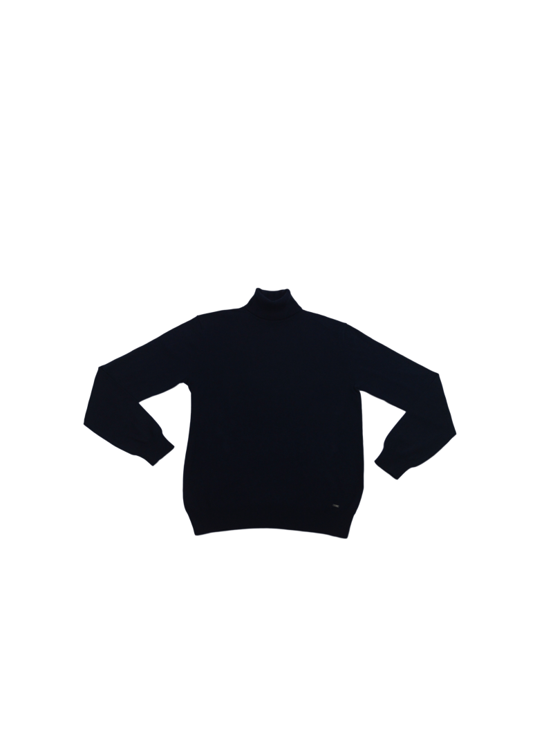 Jersey azul marino algodon cuello cisne alto hombre