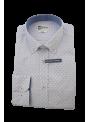 Camisa hombre algodón vestir sport blanca estampada manga larga