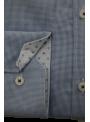 Camisa hombre vestir sport estampada manga larga algodon azul