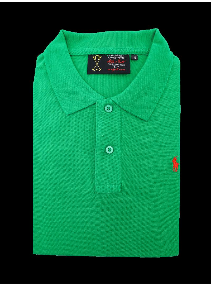 Camiseta polo manga larga hombre algodon logo caballo polo verde