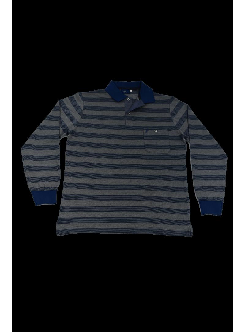 camiseta polo manga larga hombre algodon con bolsillo estampado rayas azul
