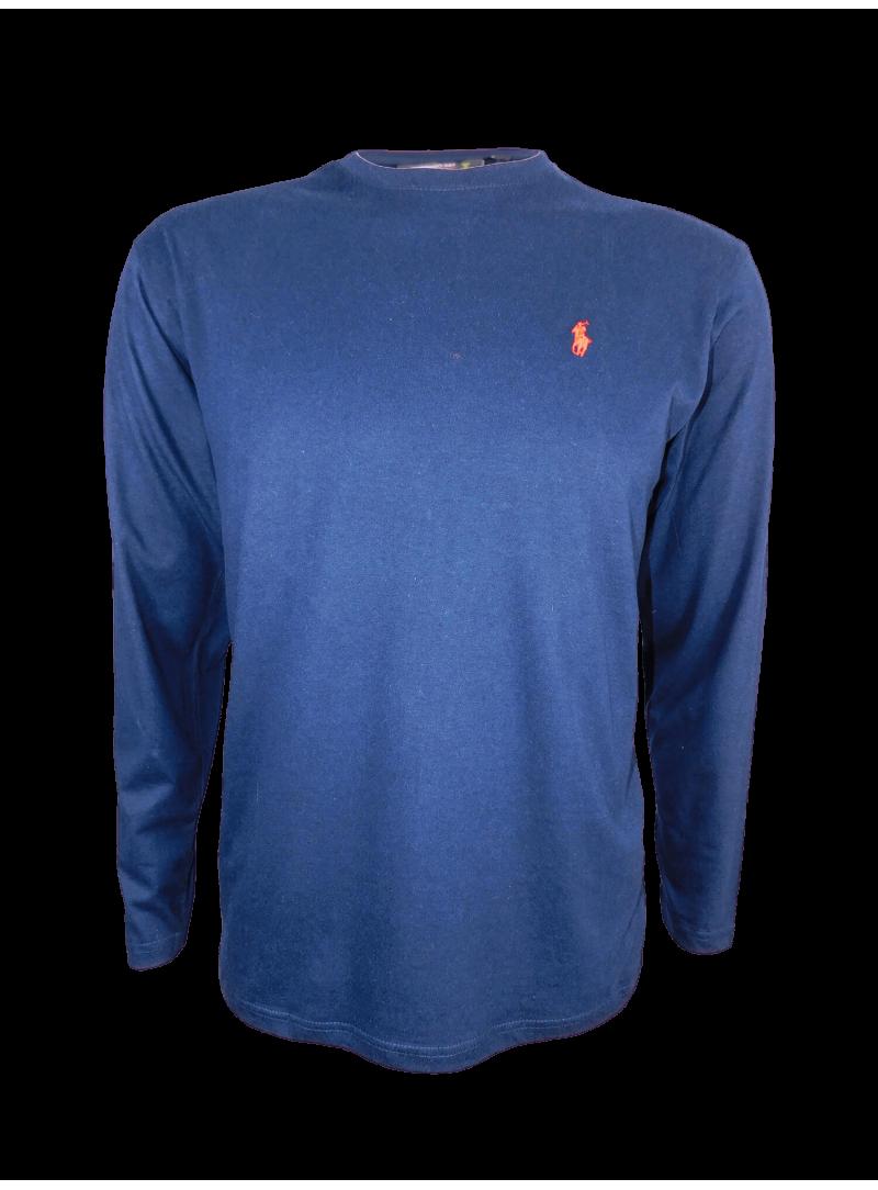 camiseta hombre manga larga algodon logo caballo polo
