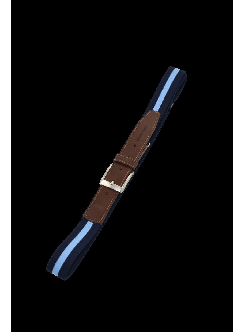 Cinturón hombre elástico adaptable azul marino y celeste con piel