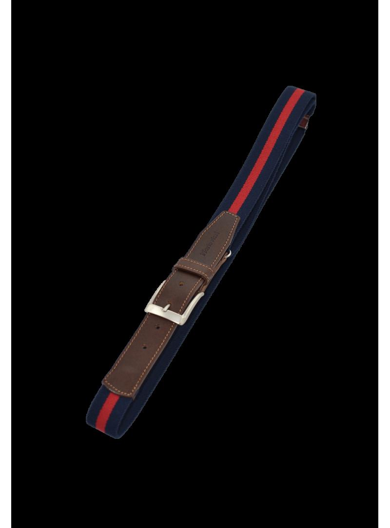 cinturón hombre elástico ajustable azul marino y rojo con piel