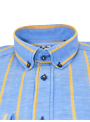 camisa hombre verano manga larga estampado rayas azul y amarillo