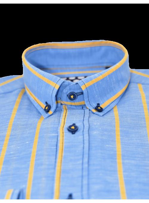 Camisa rayas lino algodón