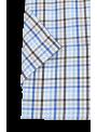 camisa hombre manga corta verano estampado cuadros azul y marron algodón