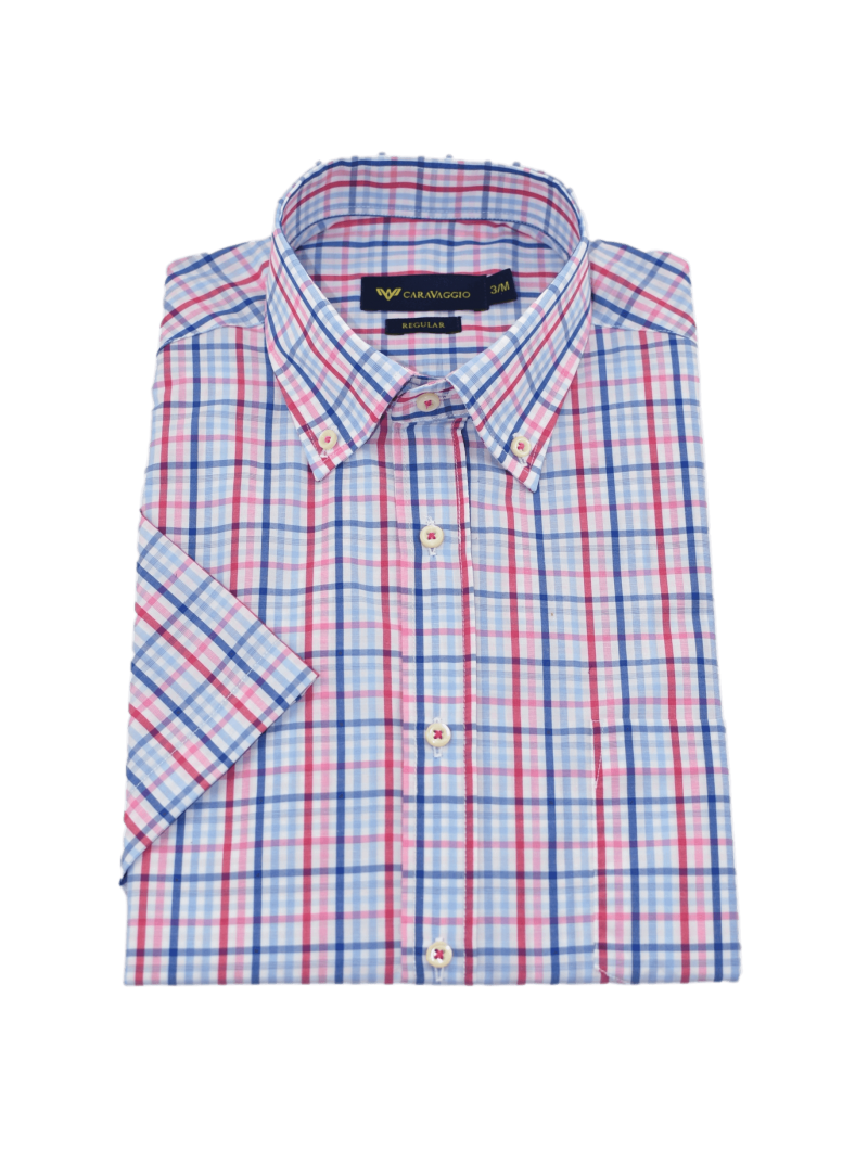 camisa hombre manga corta verano algodon estampado cuadros azul y rosa