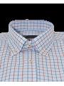 camisa hombre manga corta verano algodón estampado cuadros azul y rojo