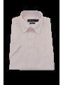 camisa hombre manga corta verano algodón estampado rayas rosas y blancas