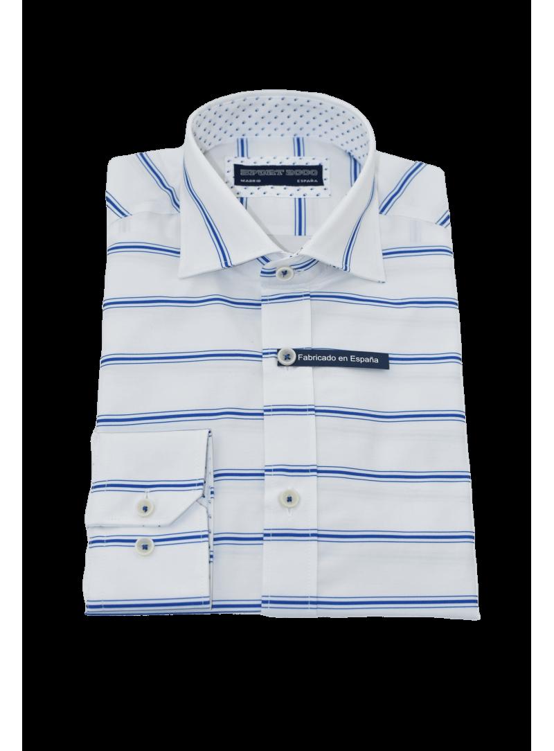 camisa hombre manga larga verano algodón estampado rayas azul y blanco