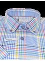 camisa hombre manga corta verano algodón estampado cuadros multicolor