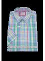 camisa hombre manga corta verano algodón estampado cuadros multicolor verde