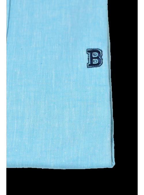 Camisa turquesa algodón lino