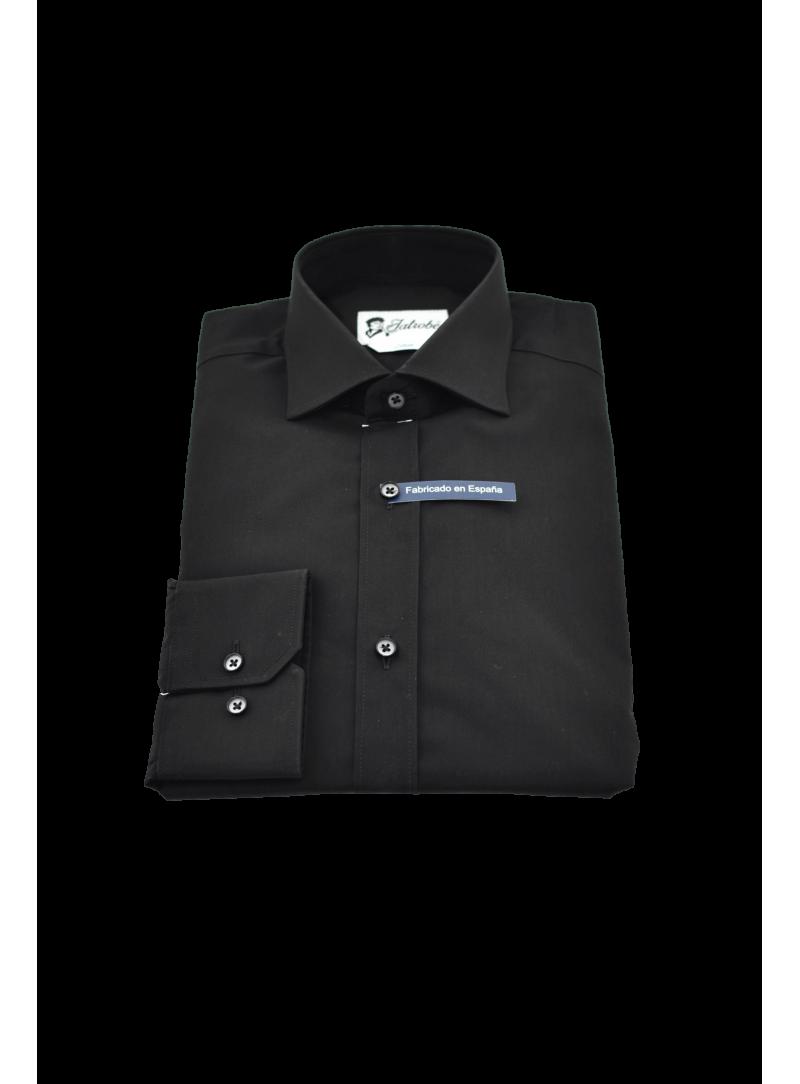 camisa hombre vestir manga larga algodón negro