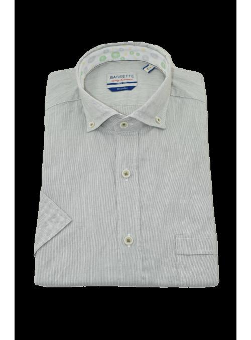 Camisa algodón lino rayas...