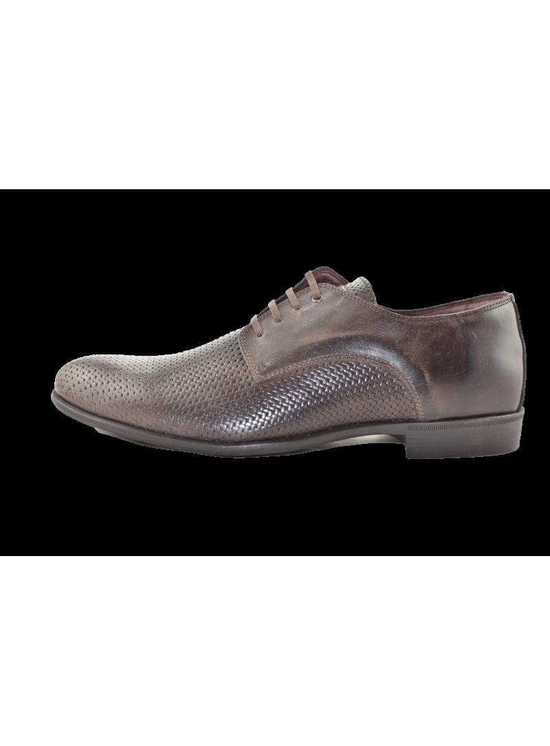 Zapato piel efecto trenzado Fyord marrón