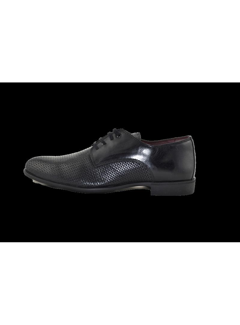Zapato piel efecto trenzado Fyord negro