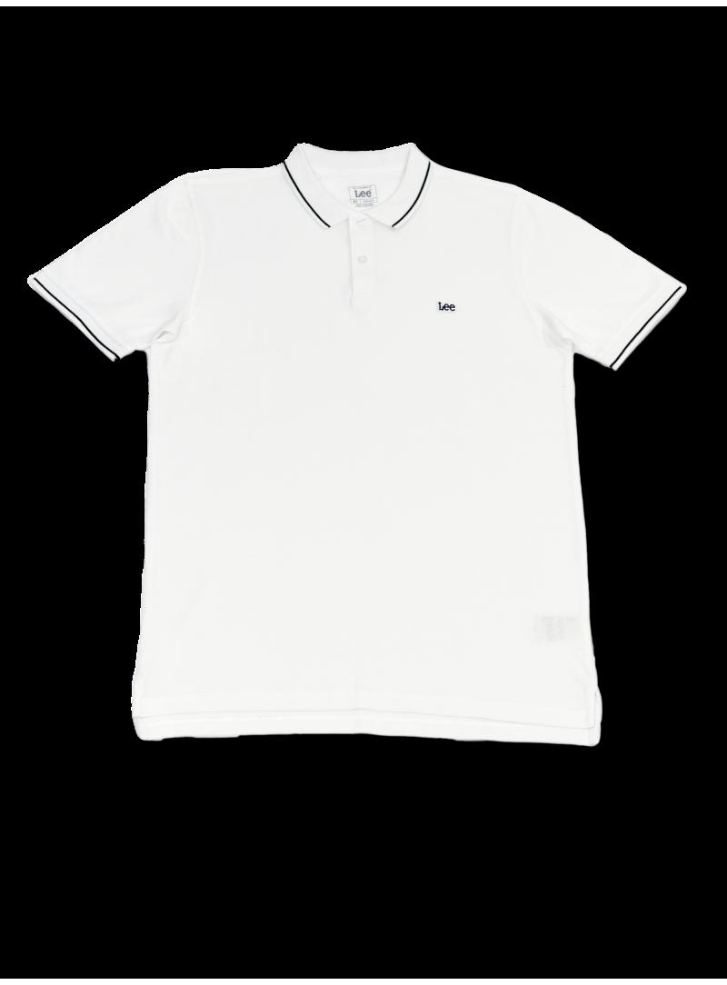 Camiseta polo blanco hombre manga corta algodón marca LEE