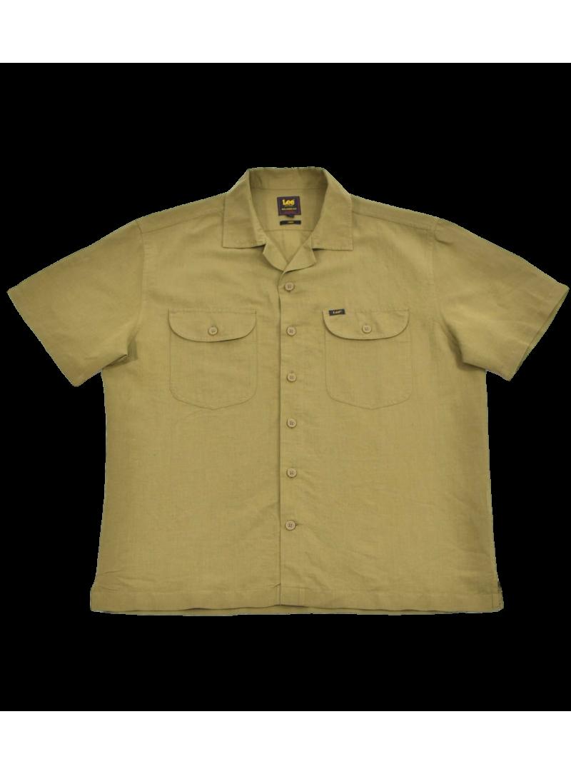 Camisa hombre manga corta marca LEE algodon color verde cuello bowling
