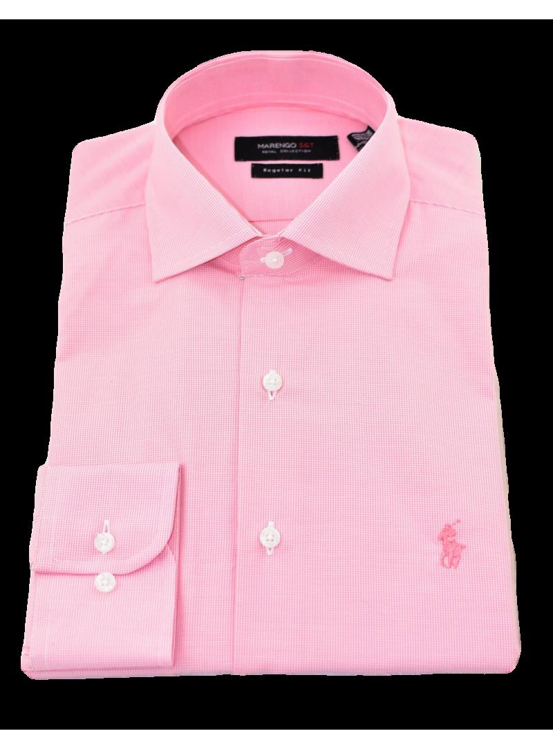 Camisa vestir hombre manga larga ideal para trajes falso liso logo caballo polo color rosa