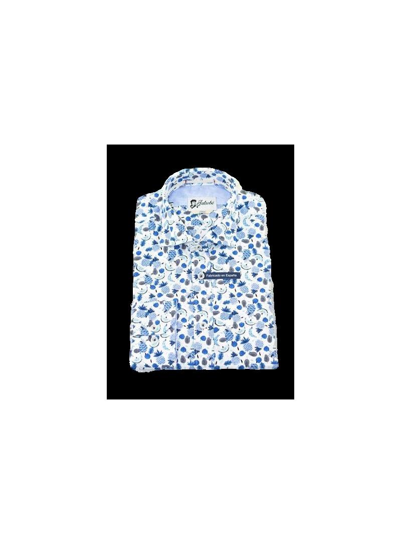 Camisa hombre chico estampado tropical primavera verano manga larga slim fit ajustado algodon