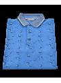 Camiseta polo hombre chico manga corta primavera verano estampado peces algodón color azul